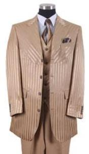 ID#AP43K tone on tone Shiny Sharkskin Shadow Stripe ~ Pinstripe Vested 3 ~ Three Piece Suits for Men