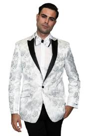 Sequin Shiny Patterned Tuxedo Jacket Paisley Best Cheap Blazer ~ Suit Jacket For Affordable Cheap Priced Unique Fancy For Men Available Big Sizes on sale Men Sport Coats Sale Silky Satin Stage Dance White/Dark black Blazer For Men