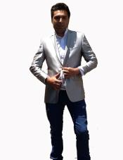 ID#G66V Stage Party Bright Vented Silver Best Cheap Blazer For Affordable Cheap Priced Unique Fancy For Men Available Big Sizes on sale Men Affordable Sport Coats Sale