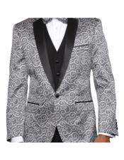 ID#KO17929 Two Toned Alberto Nardoni Silver 3 ~ Three Piece Paisley Sequin Glitter Prom ~ Wedding Groomsmen Patterned Tuxedo Suit Vest + Pants Vested + Black Lapel