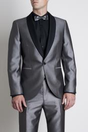 ID#SS-785 Silver Tonic Dress Suit With Contrast Dark Color Black Marcella Shawl Collar Tuxedo