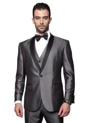 ID#RM1530 Mens Two Toned Lapel Single Breasted Solid Grey Tuxedo Suit