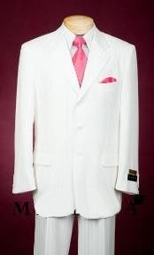 Mens Single Breasted White Suit