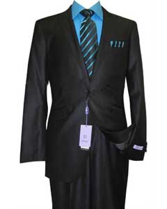 ID#NH34 Single Buttons Peak Collared Dark color black Sharkskin Wool fabric and Silk Blend Flat Front Fitted Suit
