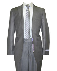 ID#GM67 Single Buttons Peak Collared Grey Sharkskin Wool fabric and Silk Blend Flat Front Fitted Suit