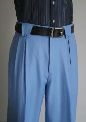 ID#JE7845 Superior fabric 150's Wool fabric Wide Leg Dress Pants / Slacks Light Blue ~ baby blue