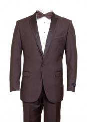 ID#KA6642 Tapered Leg Lower rise Pants & Inexpensive ~ Cheap ~ Discounted Clearance Sale Extra Slim Fit Prom Single Buttons Peak Trimmed Collared + Suit or Prom ~ Wedding Groomsmen Tuxedo Coco Chocolate brown