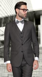 ID#AC-950 European Inexpensive ~ Cheap ~ Discounted Clearance Sale Extra Slim Fit Prom Suits for Men Dark Charcoal Masculine color Wool fabric Pinstripe Three Piece Lorenzo cut style Jacket & Pants