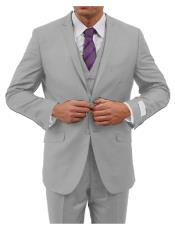 ID#KA6865 Tapered Leg Lower rise Pants & Two Button Inexpensive ~ Cheap ~ Discounted Clearance Sale Extra Slim Fit Prom Three Piece Notch Collared Euro Slim Fit Tapered pants Silver Grey (ASH) Very Light Color Cheap Priced Fitted Tapered cut Suit