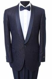 ID#BC-77 Slim Fit Sport Coat - Fancy Pattern Satin Trim Navy Tuxedo / Graduation Homecoming Outfits
