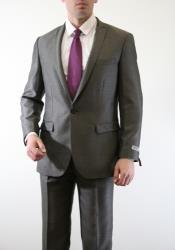 ID#AC-219 Two Piece Slim Fit Slate Suit