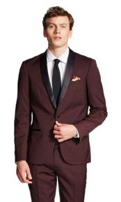 Burgundy Slim Fit Tuxedo Jacket