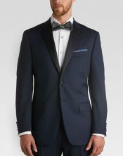 ID#MK819 Satin Collared classic Slim Fit Tuxedo With flat-front slacks Midnight blue Navy