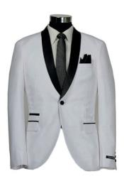 ID#SS-95G7 Single Buttons Inexpensive ~ Cheap ~ Discounted Clearance Sale Extra Slim Fit Prom Shawl White Tuxedo