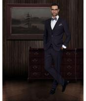 ID#SW939 2-Button Vested 3 ~ Three Piece Slim Fitted Cut Skinny Collared Wool fabric Suit Eggplant