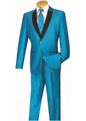 Slim Turquoise And Sky ~ Baby Blue And Black Lapel Looking Suit Prom ~ Weddted Blazer Suit Jacket For Men Affordable Sport Coats Saleing Groomsmen Cheap Homecoming Tuxedo Best Inexpensive ~ Cheap ~ Discount