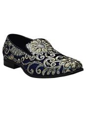 ID#DB23008 Gold & Silver Embroidered Design Slip On Smoker Blue silver dress Mens Prom Shoe Mens Two Tone Vintage Dress Shoes