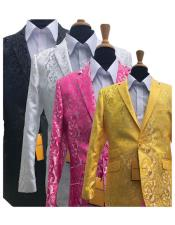 Patterned Tuxedo Yellow/White/Black/Fuschia Sparkling
