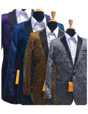 #DB18781 Fashionable Paisley Patterned Tuxedo Gold/Silver/Royal/Black and Purple Two toned Sparkling Sequin Glitter Pattern Fancy Party Best Cheap Blazer Suit Jacket For Men Affordable Sport Coats Sale with free matching bowtie
