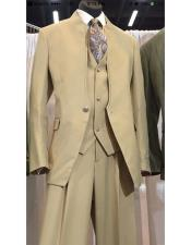 ID#KO19073 Tan ~ Taupe Single Button Vested Mandarin Single Breasted Suit & Vested