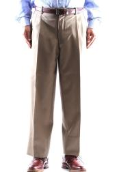 Wool Tan Pleated Pants