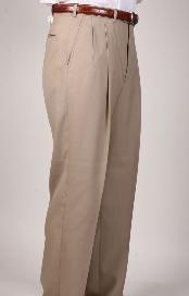 ID#PG6076 Tan ~ Beige SomersetDouble- Pleated creased Slaks / Dress Pants Trouser