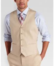 ID#DB24526 Mens Vest and Pants Set - 5 Button Tan Modern Fit Linen Outfits For Men Perfect for wedding outfit Vest & Pants