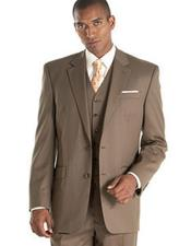 ID#DB22133 Taupe ~ Slate ~ Brownish ~ Light Olive 3 Piece Vested 2 Buttons Notch Lapel Side Vented Suits