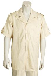 ID#KA8559 Leisure outfits walking Suit 2 Piece Short Sleeve outfits walking Suit - Buttoned Accents Taupe