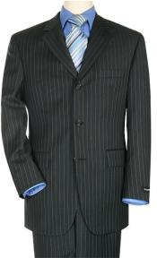 ID# ZR3199 crafted professionally italian Three buttons Style fabric Dark color black Superior fabric 140's Wool fabric Pinstripe Suit