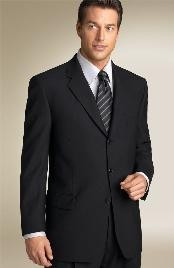 ID#A_03 Liquid Basic All Solid Outfit Plain Jet Dark color Black Funeral Suit Suits for Men Three Button Style Superior fabric 150's crafted professionally italian fabric Suit Side Vented