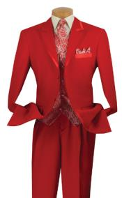 Mens Three Button Red Suit
