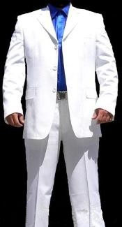 Mens Three Button White Suit