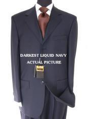 ID# IWH419 Designer Brand Name Three buttons crafted professionally italian fabric Liquid Darkest Navy Superior fabric 150's non back vent coat style
