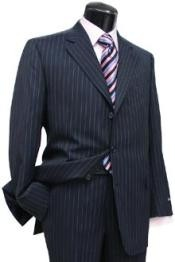ID# Zlk3 navy blue colored Pin Stripe - Pinstripe Three buttons Side Vent Jacket Superior fabric 150's Wool fabric Suit