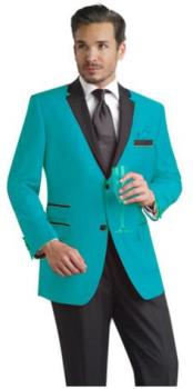 Slim Sport Coat Looking Turquoise & Black Lapel Tuxedo Best Cheap Blazer For Affordable Cheap Priced Unique Fancy For Men Available Big Sizes on sale Men Affordable Sport Coats Sale