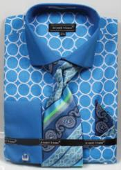 ID#MK809 Avanti Uomo Printed Pattern French Cuff Dress Cheap Fashion Clearance Shirt Sale Online For Men Turquoise