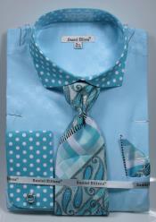 Turquoise Polka Dot Dress Cheap Fashion Clearance Shirt Sale Online For Men French Cuffed Matching Shirt & Tie Combo Combo
