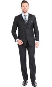 ID#AC-972 Suit Two Button Three Piece Inexpensive ~ Cheap ~ Discounted Clearance Sale Extra Slim Fit Suit
