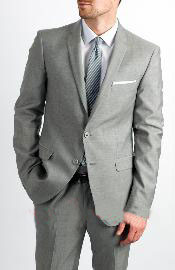 ID#KA1331 Two Button  Silver Grey Suit