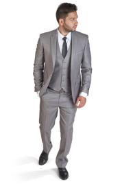 ID#SM401 Silver Two Button Notch Collared Inexpensive ~ Cheap ~ Discounted Clearance Sale Extra Slim Fit Prom Suit
