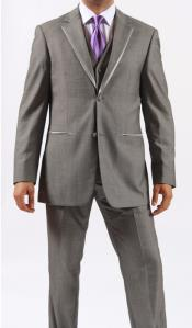 ID#MO9S Two Button Grey ~ Gray / Prom hattan Fashion Tuxedo For Men And Perfect For Wedding