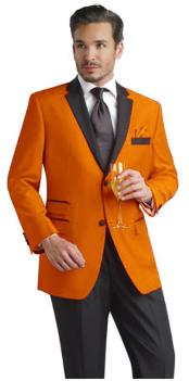 ID#PLM71 Orange Two Button Notch Party Suit & Prom Outfit Wedding Groomsmen Tuxedo & Sport coat Jacke black Collared + Black Pants
