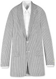ID#85152 Two-button Summer Pattern Available In Big And Tall Sizes Off White & Dark color black-Grey Stripe Pinstripe - Seersucker Suit