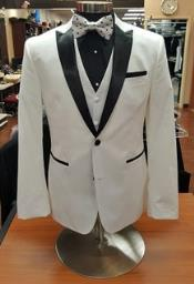 ID#DB22888 White 2 Button Black Shirt Tuxedo