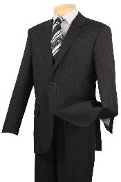 ID#BLX242 Notch Collar Pleated creased Pants Executive Classic Pin Stripe ~ Pinstripe Dark color black Suit 2RS-16
