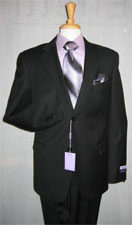 ID#Genive Two buttons Cheap Priced Fitted Tapered cut Dark color Black Wedding / Prom tone on tone Shadow Stripe ~ Pinstripe