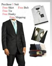 ID#GF6734 Two Button Wool fabric Dark color Black Wedding / Prom Suit- Dress Shirt, Free Tie & Hankie Package