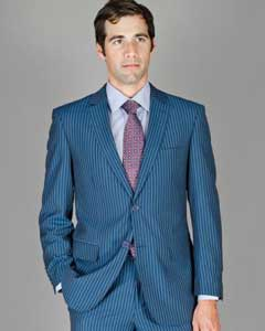 ID#BHN56 Tapered Leg Lower rise Pants & Get skinny Cheap Priced Fitted Tapered cut Blue Stripe ~ Teal ~ Indigo Pinstripe Wool fabric and Silk Blend Suit
