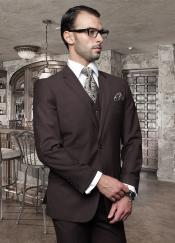 Nice Two buttons Basic Solid Plain Color Coco Chocolate with a Vest 3 Piece Suits Tapered Inexpensive ~ Cheap ~ Discounted Clearance Sale Prom Flat Front Pants Wool fabric brown Extra Slim Fit Suit